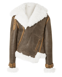 Monse Asymmetric Shearling And Textured Leather Biker Jacket