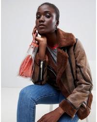 Warehouse Biker Jacket With Contrast Edging In Brown