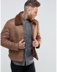 Asos Faux Shearling Jacket In Brown