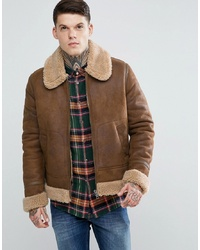 ASOS DESIGN Faux Shearling Jacket In Tan