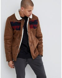 ASOS DESIGN Faux Shearling Jacket With Aztec In Tan