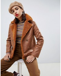 Side Party Mina Faux Sheepskin Double Breasted Coat