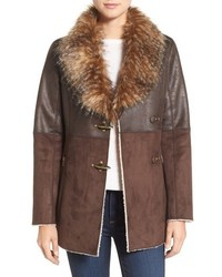 Mixed media faux shearling jacket medium 751215