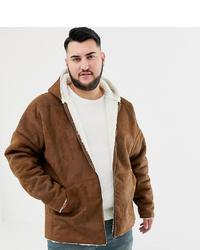 ASOS DESIGN Plus Reversible Faux Shearling Jacket With Hood In Tan