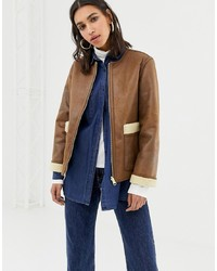 Warehouse Reversible Borg Jacket In Tan