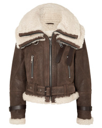 Burberry Shearling Trimmed Textured Leather Jacket