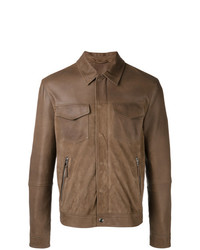 Eleventy Shirt Jacket With Zip Pockets Brown