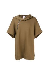 Brown Short Sleeve Hoodie