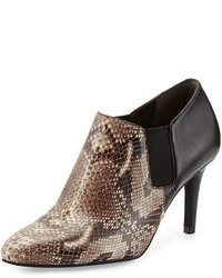 Brown Snake Leather Ankle Boots