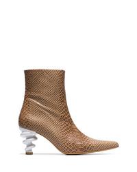 Kalda Brown Island 70 Twisted Heel Snake Effect Leather Boots