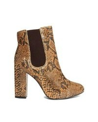 London Rebel Tonga Faux Snake Ankle Boots