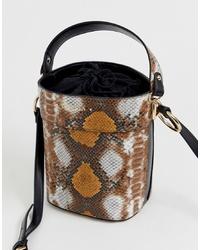 Carvela Fizz Mixed Snake Print Bucket Bag