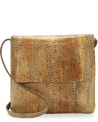 Brown Snake Leather Crossbody Bag