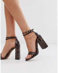 ASOS DESIGN Highlight Barely There Heeled Sandals In Brown Snake