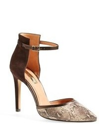 Brown Snake Leather Pumps