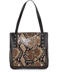 Brown Snake Leather Tote Bag