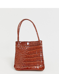 Liars & Lovers Brown Patent Moc Croc Mini Bag