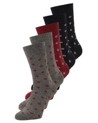 Pier One Geo 5 Pack Socks Navyredgrey
