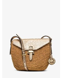 Brown Straw Crossbody Bag