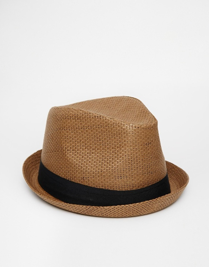 bbaaf0a04 £18, Asos Brand Straw Pork Pie Hat In Brown