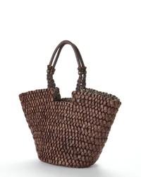 Brown Straw Tote Bag