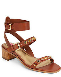 Brown Studded Leather Heeled Sandals
