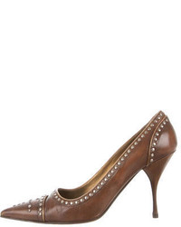 Brown Studded Leather Pumps
