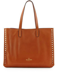 Brown Studded Leather Tote Bag