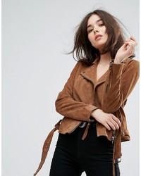 Muubaa warren belted suede biker jacket medium 3748769