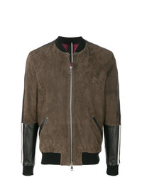 Low Brand Panelled Leather Bomber Jacket