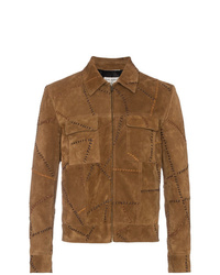 Saint Laurent Stitch Detail Suede Leather Jacket