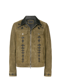 Diesel Black Gold Suede Jacket With Nappa Inlays