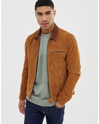 ASOS DESIGN Suede Zip Through Jacket In Tan