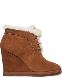 Michael Kors Michl Kors Collection Chadwick Shearling Trimmed Suede Wedge Boots Tan