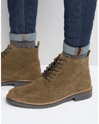 Suede brogue boots in taupe medium 958851