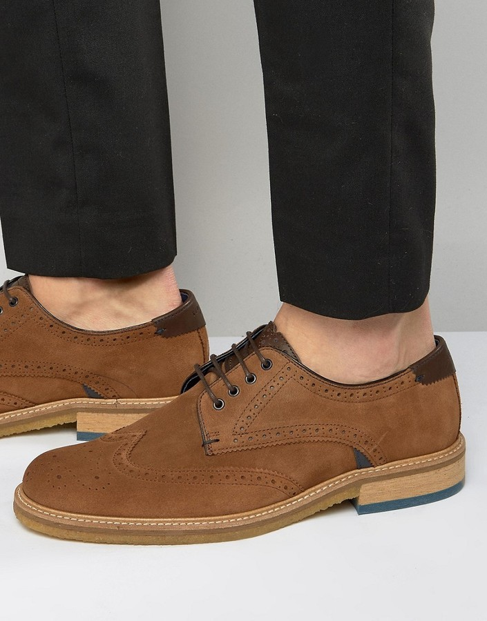 good out x professional sale cheap for discount Ted Baker Prycce Suede Brogue Shoes, £95 | Asos | Lookastic UK