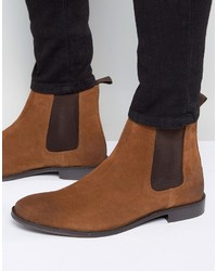 Wide fit chelsea boots in tan suede medium 1155626