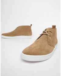 Fred Perry Cox Suede Mid Chucker Boots In Sand