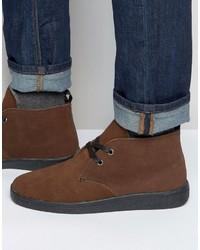 Fleece lined chukka boot in brown suede medium 780222