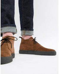 Fred Perry Hawley Mid Suede Boots In Brown