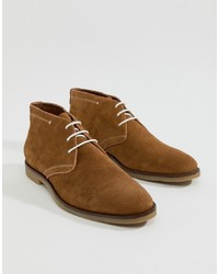 Dune Perforated Desert Boots In Tan Suede