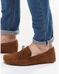 Driving shoes in tan suede with tie front medium 744625