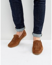 Asos Driving Shoes In Tan Suede With Woven Detail