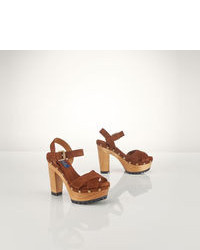 Brown Suede Heeled Sandals