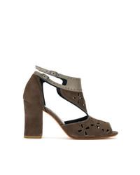 Sarah Chofakian Contrasting Panel Sandals