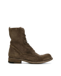 Brown Suede Lace-up Flat Boots