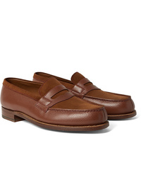 J.M. Weston 180 The Moccasin Full Grain Leather And Suede Penny Loafers