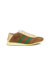 Gucci Suede Sneakers With Web