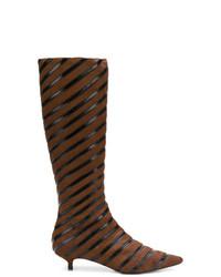 Sonia Rykiel Striped Kitten Heel Boots