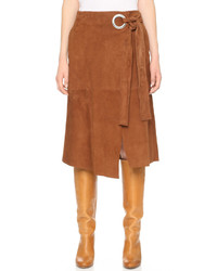 dfc9a3732a Dagmar Dia Paneled Leather And Suede Pencil Skirt Out of stock · Tibi Suede  Wrap Skirt